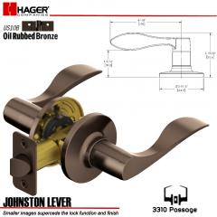 Hager 3310 Johnston Lever Tubular Leverset US10B Stock No 144931