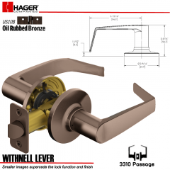 Hager 3310 Withnell Lever Tubular Leverset US10B Stock No 144572