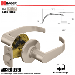 Hager 3310 Archer Lever Tubular Leverset US15 Stock No 144817