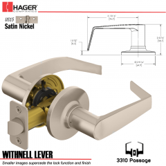 Hager 3310 Withnell Lever Tubular Leverset US15 Stock No 144568