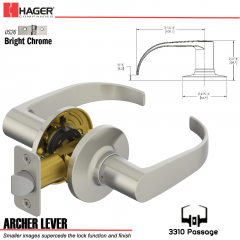Hager 3310 Archer Lever Tubular Leverset US26 Stock No 197213