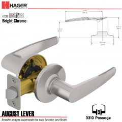 Hager 3310 August Lever Tubular Leverset US26 Stock No 197201