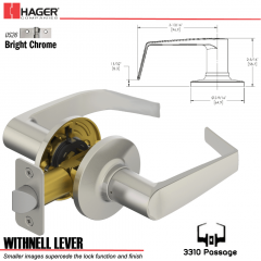 Hager 3310 Withnell Lever Tubular Leverset US26 Stock No 197167