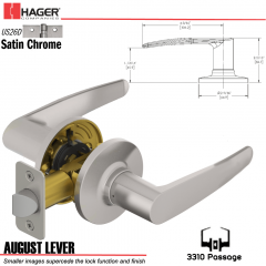 Hager 3310 August Lever Tubular Leverset US26D Stock No 144791