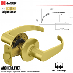 Hager 3310 Archer Lever Tubular Leverset US3 Stock No 197216