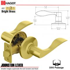Hager 3310 Johnston Lever Tubular Leverset US3 Stock No 197232