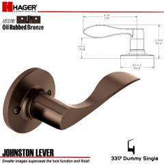 Hager 3317 Johnston Lever RH Tubular Leverset US10B Stock No 196744