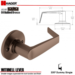 Hager 3317 Withnell Lever Tubular Leverset US10B Stock No 144790