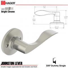 Hager 3317 Johnston Lever RH Tubular Leverset US26 Stock No 197266