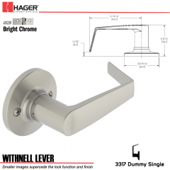 Hager 3317 Withnell Lever Tubular Leverset US26 Stock No 197188