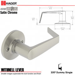 Hager 3317 Withnell Lever Tubular Leverset US26D Stock No 144783