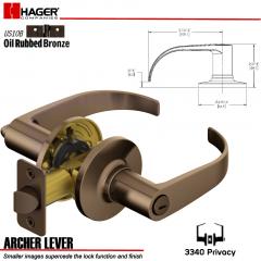 Hager 3340 Archer Lever Tubular Leverset US10B Stock No 144824