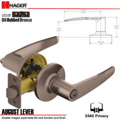 Hager 3340 August Lever Tubular Leverset US10B Stock No 144803