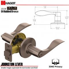 Hager 3340 Johnston Lever Tubular Leverset US10B Stock No 144972