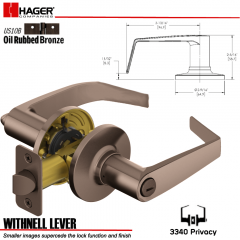 Hager 3340 Withnell Lever Tubular Leverset US10B Stock No 144609