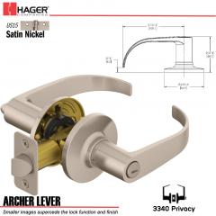 Hager 3340 Archer Lever Tubular Leverset US15 Stock No 144820
