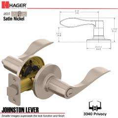 Hager 3340 Johnston Lever Tubular Leverset US15 Stock No 144971