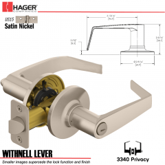 Hager 3340 Withnell Lever Tubular Leverset US15 Stock No 144607
