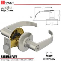 Hager 3340 Archer Lever Tubular Leverset US26 Stock No 197220