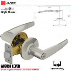 Hager 3340 August Lever Tubular Leverset US26 Stock No 197205