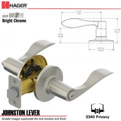 Hager 3340 Johnston Lever Tubular Leverset US26 Stock No 197234