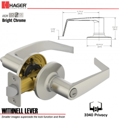 Hager 3340 Withnell Lever Tubular Leverset US26 Stock No 197169