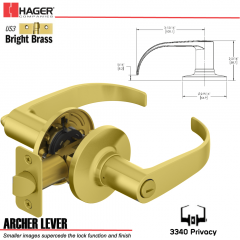 Hager 3340 Archer Lever Tubular Leverset US3 Stock No 197221