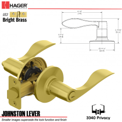 Hager 3340 Johnston Lever Tubular Leverset US3 Stock No 197235