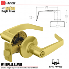 Hager 3340 Withnell Lever Tubular Leverset US3 Stock No 197170