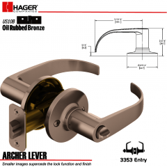 Hager 3353 Archer Lever Tubular Leverset US10B Stock No 144884