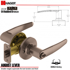 Hager 3353 August Lever Tubular Leverset US10B Stock No 144811