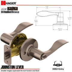 Hager 3353 Johnston Lever Tubular Leverset US10B Stock No 144975