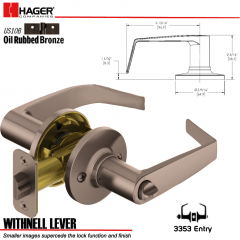Hager 3353 Withnell Lever Tubular Leverset US10B Stock No 144779