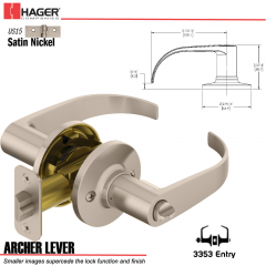 Hager 3353 Archer Lever Tubular Leverset US15 Stock No 144878