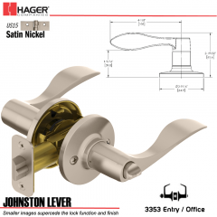 Hager 3353 Johnston Lever Tubular Leverset US15 Stock No 144973