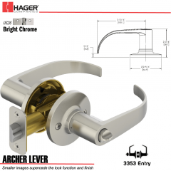 Hager 3353 Archer Lever Tubular Leverset US26 Stock No 197223