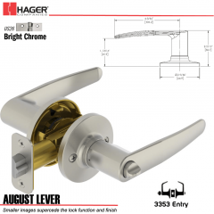 Hager 3353 August Lever Tubular Leverset US26 Stock No 197207