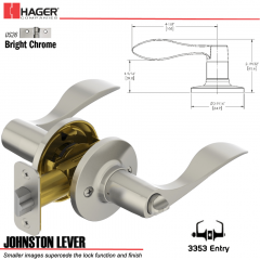 Hager 3353 Johnston Lever Tubular Leverset US26 Stock No 197236