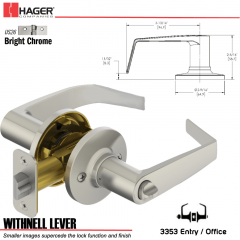Hager 3353 Withnell Lever Tubular Leverset US26 Stock No 197172