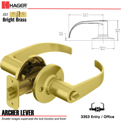 Hager 3353 Archer Lever Tubular Leverset US3 Stock No 197224