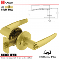 Hager 3353 August Lever Tubular Leverset US3 Stock No 197208