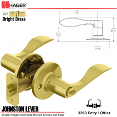 Hager 3353 Johnston Lever Tubular Leverset US3 Stock No 197237