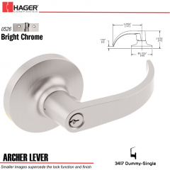 Hager 3417 Archer Lever Lockset US26 Stock No 012572