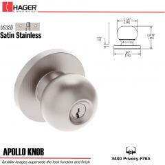 Hager 3440 Apollo Knob Lockset US32D Stock No 012503