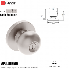 Hager 3453 Apollo Knob Lockset US32D Stock No 124304