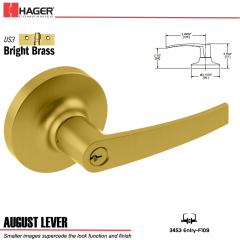 Hager 3453 August Lever Lockset US3 Stock No 028389