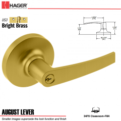 Hager 3470 August Lever Lockset US3 Stock No 144697