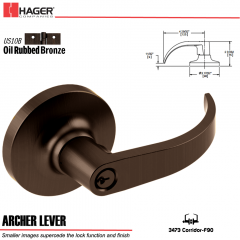 Hager 3473 Archer Lever Lockset US10B Stock No 174828