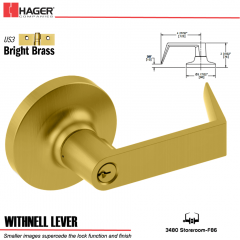 Hager 3480 Withnell Lever Lockset US3 Stock No 181552