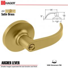 Hager 3480 Archer Lever Lockset US4 Stock No 012494